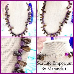 Tigers Eye Purple Agate Necklace
